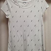 New Express Shirt Top White Black Lighting Bolts Casual Sheer Scoop Size S Photo