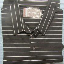 New Express Striped Casual Polo Shirt M Nwt 50 (Men's T-Shirt Short Sleeve) Photo