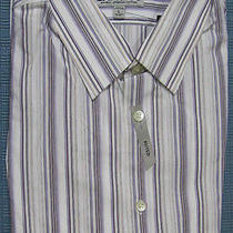 New Express Striped Fitted Casual Dress Shirt L Nwt 60 (Tailored Work Shirt) Photo