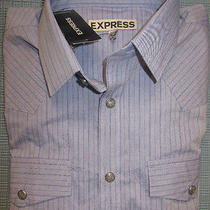 New Express Striped Fitted Western Shirt Xl Nwt 70 (Casual Slim Dress Shirt Photo