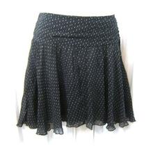 New Express Sz. 6 Black Polka Dot Silk Chiffon Full Flirty a-Line Skirt 6 S Nwt Photo