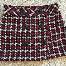 New Express Tartan Plaid Mini Skirt Size 2 Red Black Nwt 59.50 Xs Acrylic/wool Photo