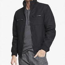 New Express Tech 198 Black Water Resistant Wool Blend Jacket Sz M Medium Photo