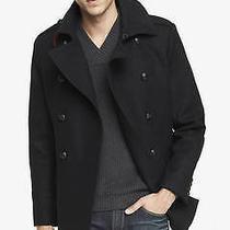 New Express Tech 228 Black Water Resistant Wool Blend Peacoat Coat Sz Xs Photo