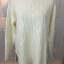 New Express Tricot Sz L Ivory Wool Angora Rabbit Hair Cable Knit v-Neck Sweater Photo