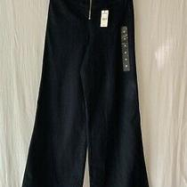 New Express Wide Leg Super High Rise Dark Blue Stretch Jeans 4r Photo