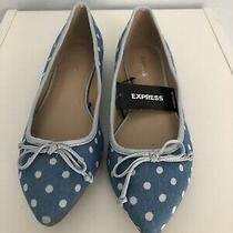 New Express Woman Pointed Flat Shoes Size 6 Blue Denim With Polka Dots Photo