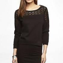 New Express Women's Crochet Trim Sweatshirt Size Xs Photo