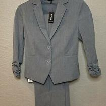 New Express Women's Dressy Gray Ruched Sleeve Professional Jacket Blazer Size 0 Photo