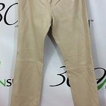New Express Women's Juniors 3 4 Small Beige Cream Genuine Leather Dress Pants Photo