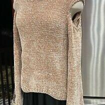 New Express Womens Teddy Plush Chenille Cold Shoulder Sweater Sz Xs Blush Pink Photo