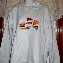 New Fall Sweatshirt Women's Size Medium 10-12 Pumpkins Beige Classic Element Photo