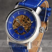 New Fancy China Blue Leather Band Dial Skeleton Auto Mechanical Men Wrist Watch Photo
