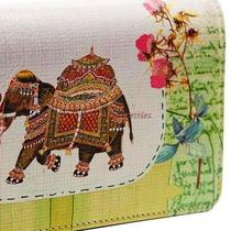 New Fancy Elephant India Spring Pink Flower Papaya Art Wallet Checkbook Chaching Photo