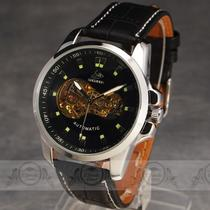 New Fancy Men Mechanical Automatic Wrist Watch Part Skeleton Real Leather Strap  Photo