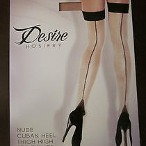 New Fantasy Lingerie Cuban Heel Sheer Seamed Thigh High Stockings Nude One Size Photo