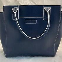 New Faux Leather Vera Bradley Navy With White Trim North Brook Tote Bag Photo