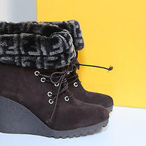 New Fend Brown Suede Platform Ankle Logo Fur Bootie Wedge Heel Shoes Sz 8 / 38 Photo