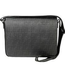 New Fendi Black Zucca Spalmati Messenger Bag 7va195 B0w Authentic Photo