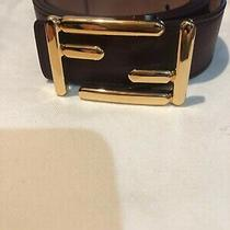 New Fendi Burgundy Ff Belt Women's Size 95 Made in Italy Photo