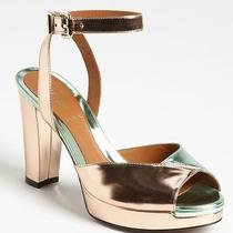 New Fendi Joker Ankle Strap Platform Sandals Pumps Size 38 Metallic Green Copper Photo