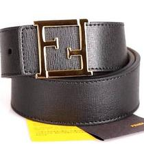 New Fendi Luxury Black Leather  Gold  Ff Logo Buckle Belt 80/32 Photo
