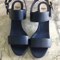 New Fendi Strap Heel Blue Sandals With Metallic Heel Pumps Shoes Size 9.5 It 40 Photo