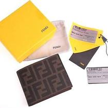 New Fendi Zucca Tobacco Brown Bi-Fold Men's Wallet Cc Holder Id Case Photo