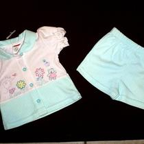 New Fisher Price Infant Girl 3-6m 2-Piece Aqua White Checker Summer Shorts Top Photo