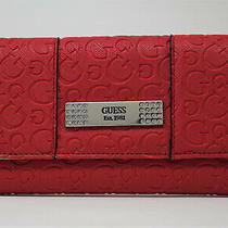 New (Flaw / Defect) Guess Women's Abelia Red Logo Debossed Wallet Clutch Bag  Photo