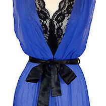 New Flora Nikrooz Mesh Babydoll Sexy Lace Sleepwear G-String Purple Black S 58 Photo