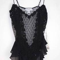 New Flora Nikrooz Sheer Mesh With Floral Applique Teddy M Black 7505 Photo
