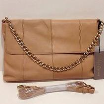 New Foley & Corinna Nimble Shoulder Bag Nude Beige Leather 395 Large Clutch Photo