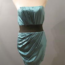 New Foley  Corinna Teal Silk Satin Strapless Dress M 410 Photo