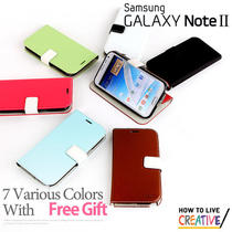 New for Samsung Galaxy Note 2 Fancy Leather Hard Flip Case Cover With Free Gift Photo