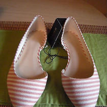 New  Forever 21 Canvas Cream Blush Striped Flats Shoes Womens Size 6.5 Medium  Photo