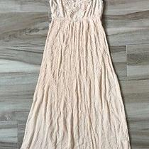 New Forever 21 Light Blush Pink Gauze Crochet Lace Front Summer Maxi Dress Sz M Photo