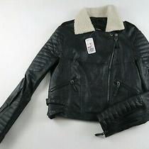 New Forever 21 Womens Faux Leather Full Zip Black Moto Bomber Coat Jacket Large Photo