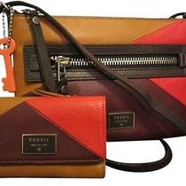 New Fossil 2 Piece Red Multi Dawson Leather Set Photo
