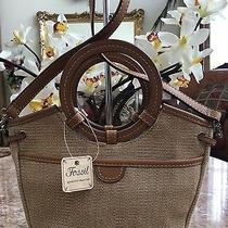 New Fossil Avignon Ring Cross-Body Canvas Messenger Leather Beige Shoulder Bag Photo