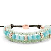 New Fossil Beaded Wrist Wrap Bracelet Mint Photo