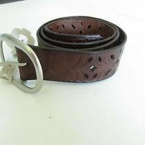 New Fossil Belt Women M Medium Brown Leather Belt Floral Cut Out Photo