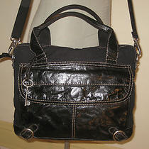 New Fossil Black Leather & Canvas Unisex Cross Body Bag Tote Laptop & More Photo