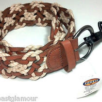 New Fossil Braided Leather Belt S Western Woven Adjustable Waist Up to 32