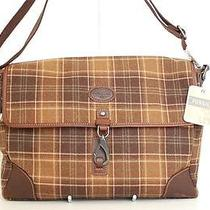 New Fossil Brown Alpine Plaid Large Computer Messenger E/w Laptop Work Bag 188 Photo