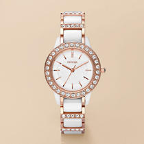 New Fossil Ce1041 White Ceramic Rose Gold Tone Ladies Watch Photo