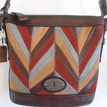 New Fossil Chevron Bucket Style Tote Purse Quilted Leather Nwt Dust Bag Photo