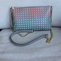 New Fossil Crossbody Clutch Perforated Dot Bag Messenger Grey/ Gold Chain Strap Photo