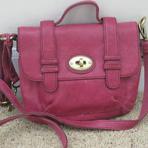 New Fossil Crossbody Raspberry Leather Purse Bag  Photo