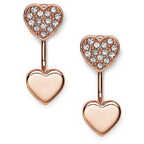 New Fossil Earring Heart Studs Rose Gold Jf02282791 Photo